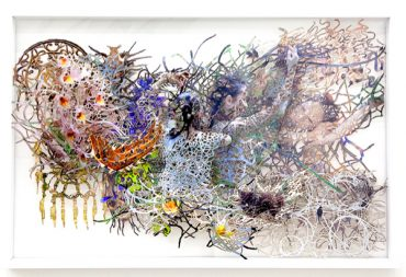 "Yuki Tawada, The Infinite Plan"", 2012, 96 x 146 x 7 cm, angebrannter Inkjetdruck auf Acrylglasscheiben"